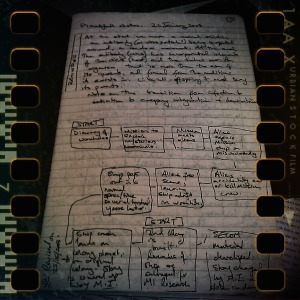 Moleskine notebook opened to writing page